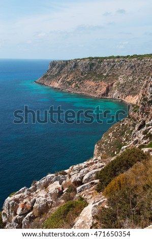 Fomentera, Balearic Islands: panoramic view of Mediterranean Sea and Mediterranean maquis seen from La Mola cliff on September 3, 2010. La Mola cliff is located at the far eastern tip of the island