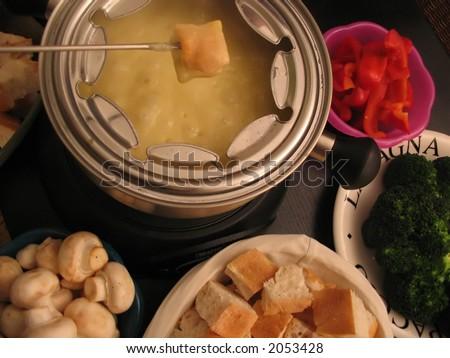 fondue (cheese) - stock photo