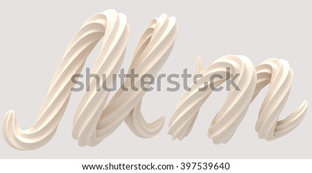 font design of the white cream 3d rendering
