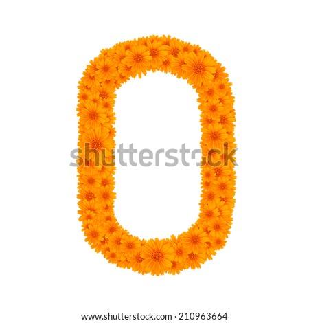 Font flower  orange  zinnia , Alphabet - O - stock photo