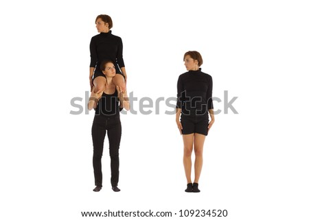 Font I formed by humans bodies - stock photo