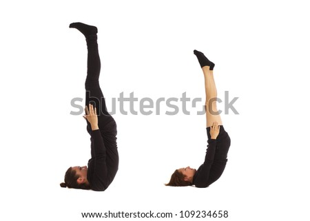 Font J formed by humans bodies - stock photo