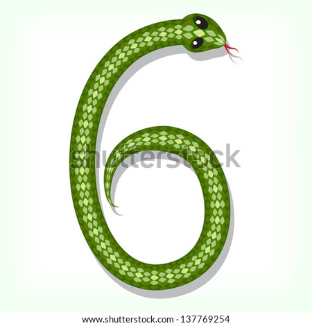 Font made from green snake. Digit 6. Raster version. Vector is also available in my gallery - stock photo