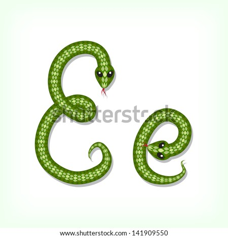 Font made from green snake. Letter E. Raster version. Vector is also available in my gallery - stock photo