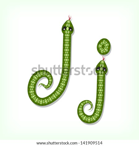 Font made from green snake. Letter J. Raster version. Vector is also available in my gallery - stock photo