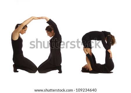 Font O formed by humans bodies - stock photo