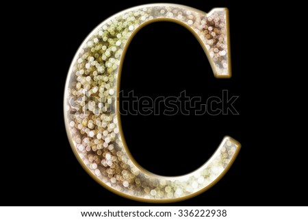 FONT or LETTER and colourful design of wonderful bokeh style ALPHABET C  in gradient overlay bright and glow tone