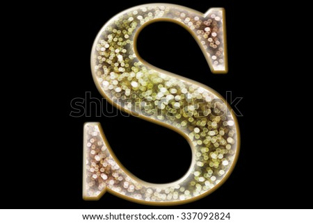 FONT or LETTER and colourful design of wonderful bokeh style ALPHABET S  in gradient overlay bright and glow tone