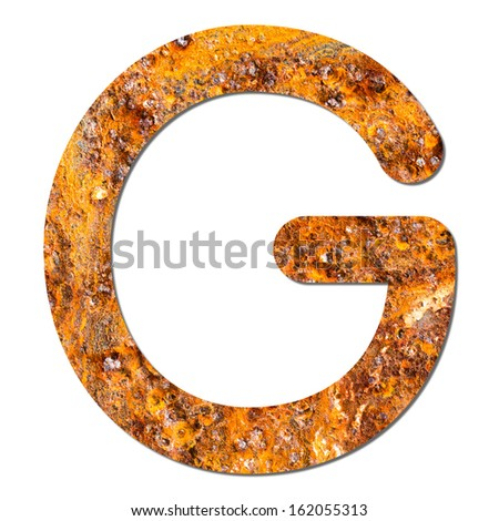 Font rusty steel texture alphabet G with shadow and path