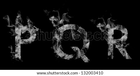 Font smoke. Letters P Q R - stock photo