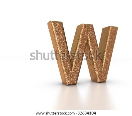Font Three Dimensional Gold Letter W Alphabet on white background - stock photo