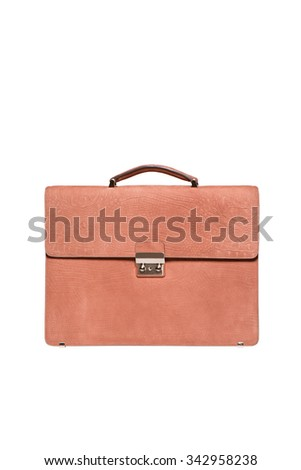 Font view of brown men briefcase isolated over white - stock photo