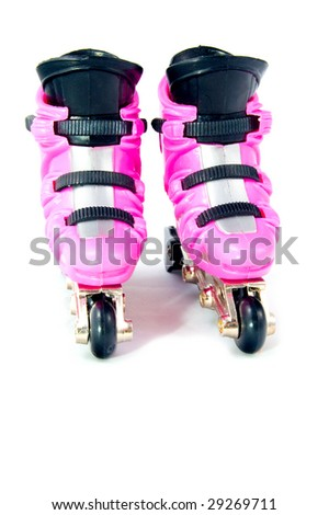 font view of two pink rollerskates isolated on a white background - stock photo