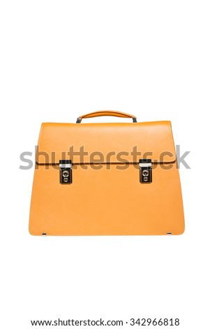 Font view of yellow men briefcase isolated over white - stock photo