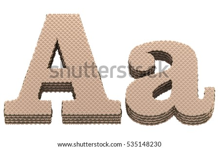 Font. Waffles with chocolate cream filling. 3d rendering.
