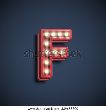 Font with lamps, vector - stock photo