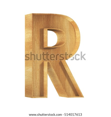 Font Wood R 3D Render Illustration