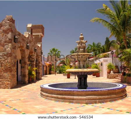 Fontain and architecture in Cabo San Lucas / Mexico - stock photo