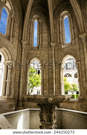 Fontaine in Alcobaca monastery is a Medieval Roman Catholic Monastery, Portugal