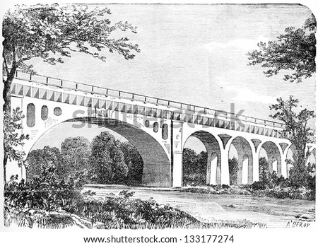 Fontainebleau Aqueduct in Seine-et-Marne, France, vintage engraved illustration. Industrial Encyclopedia - E.O. Lami - 1875 - stock photo