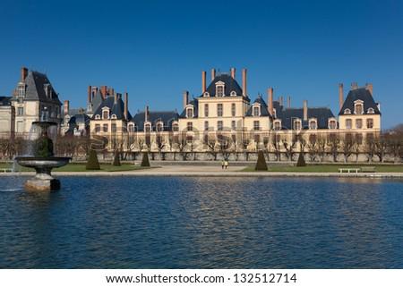 Fontainebleau castle, Seine et marne, Ile de France, France - stock photo