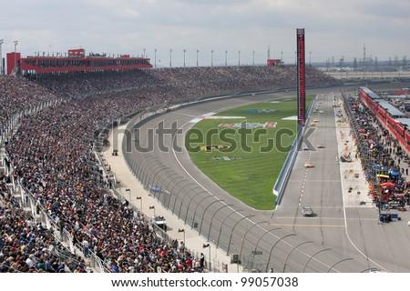 FONTANA, CA. - FEB 21: A general view of the Auto Club Speedway during the Auto Club 500 on Feb 21 2010 at the Auto Club Speedway in Fontana, Ca. - stock photo