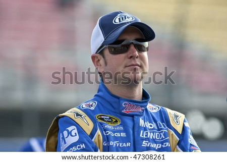 Fontana, CA - FEB 19, 2010:  Miller Lite driver, Kurt Busch, watches qualifying for the Auto Club 500 race a the Auto Club Speedway in Fontana, CA on Feb 19, 2010