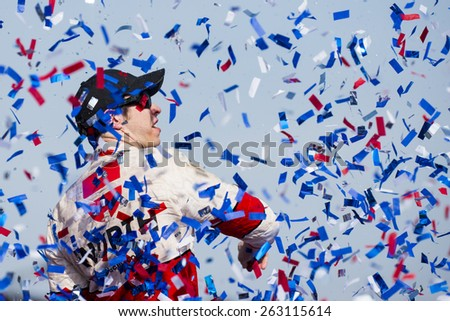 Fontana, CA - Mar 22, 2015:  Brad Keselowski (2) wins the Auto Club 400 race at the Auto Club Speedway in Fontana, CA. - stock photo