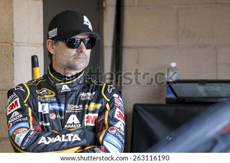 Fontana, CA - Mar 21, 2015:  Jeff Gordon (24) waits to practice for the Auto Club 400 at Auto Club Speedway in Fontana, CA.