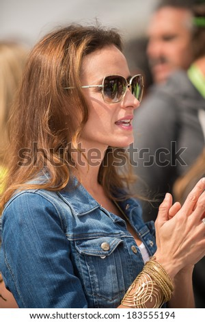 FONTANA, CA - MAR 23: Kyle Busch's wife Samantha at the Nascar Sprint Cup Auto Club 400 race at Auto Club Speedway in Fontana, CA on March 23, 2014 - stock photo
