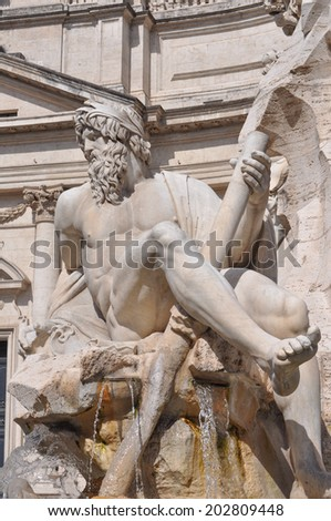 Fontana dei Quattro Fiumi meaning Fountain of the Four Rivers in the Piazza Navona square designed in 1651 by Gian Lorenzo Bernini