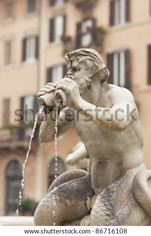 Fontana del Moro in Piazza Navona, Famous square filled with fountains in the heart of Rome, capital of Italy - stock photo