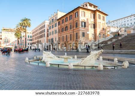 Fontana della Barcaccia ,Piazza di Spagna, Rome, Italy - stock photo