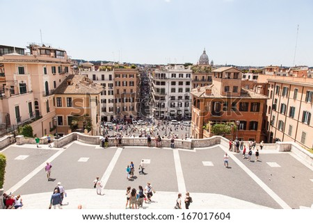 Fontana della Barcaccia, seen from the top of the Spanish Steps. - stock photo
