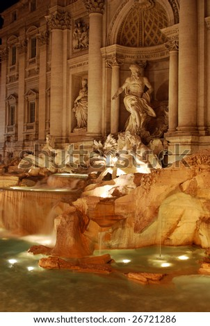 Fontana di Trevi (Trevi Fountain) at Night, Rome, Italy - stock photo