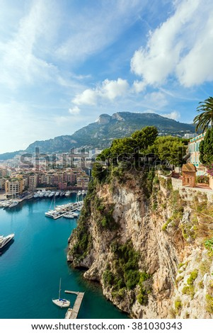 Fontvieille, new district of Monaco. panoramic view of marina. Cote d'Azur. french riviera