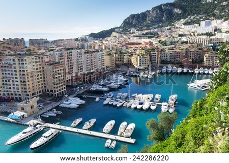 Fontvielle Harbour, Monaco, on the French Riviera - stock photo