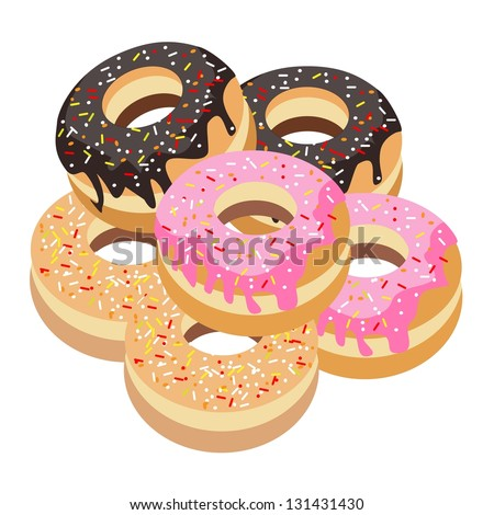 Food and Bakery, An Illustration Stack of Delicious Sweet Donuts with Chocolate, Strawberry and Vanilla Toppings - stock photo