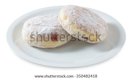 Food and Bakery, Fresh Sweet Donuts Strawberry Jam and Blueberry Jam with Icing Toppings Isolated on White Background. - stock photo
