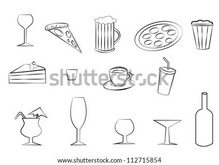 Food and drink icon set - stock photo