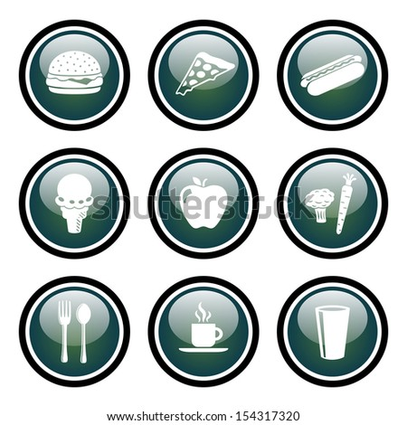 Food and Drink Icon Set with Glass Button Icons.  Raster version.