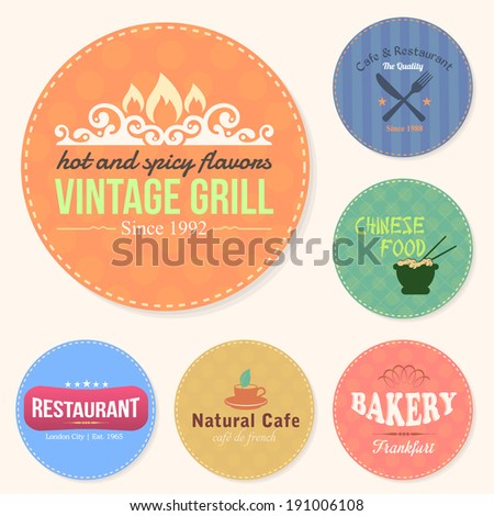 Food and Drink Restaurant Bar Tag, Sticker, Banners, Badges, Labels Set - stock photo