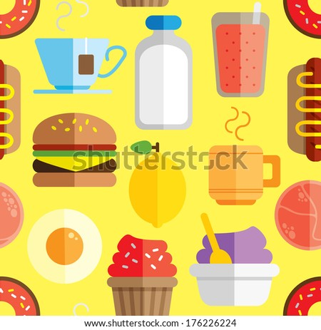 food and drink seamless background