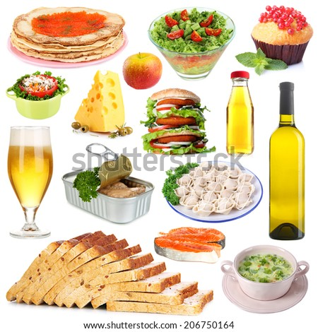 Food and drinks collage isolated on white