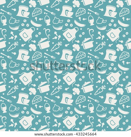Food and kitchen seamless pattern. Background with silhouette icons for culinary theme. Raster illustration. - stock photo
