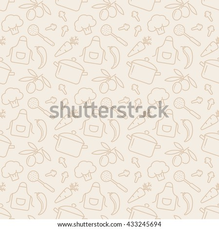 Food and kitchen seamless pattern. Pale background with line icons for culinary theme. Raster illustration. - stock photo