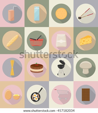 food and objects flat icons illustration isolated on background
