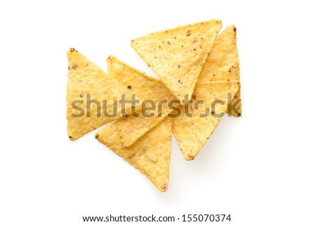 Food and snacks: mexican nachos, isolated on white background