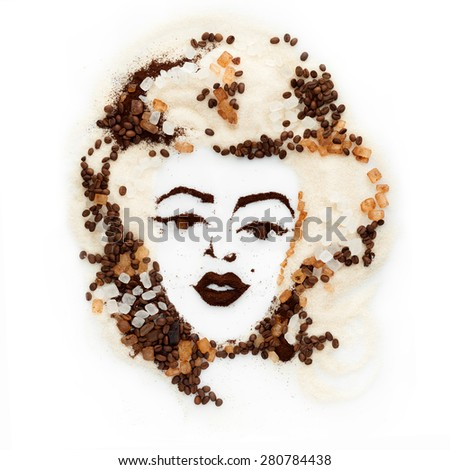 Food art concept of a beautiful female face made of coffee beans, ground coffee and sugar, white and brown, isolated on white background. - stock photo