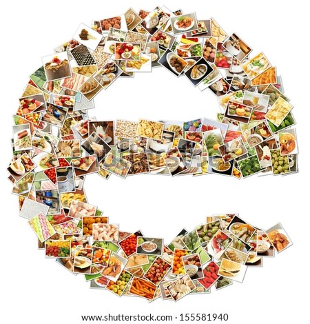 Food Art E Lowercase Shape Collage Abstract - stock photo